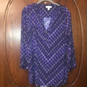 Dana Buchman tunic purples and black print xl